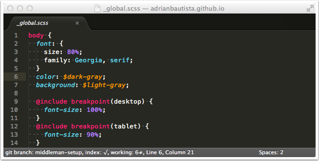 Sublime Text 3 natho's SASS Package