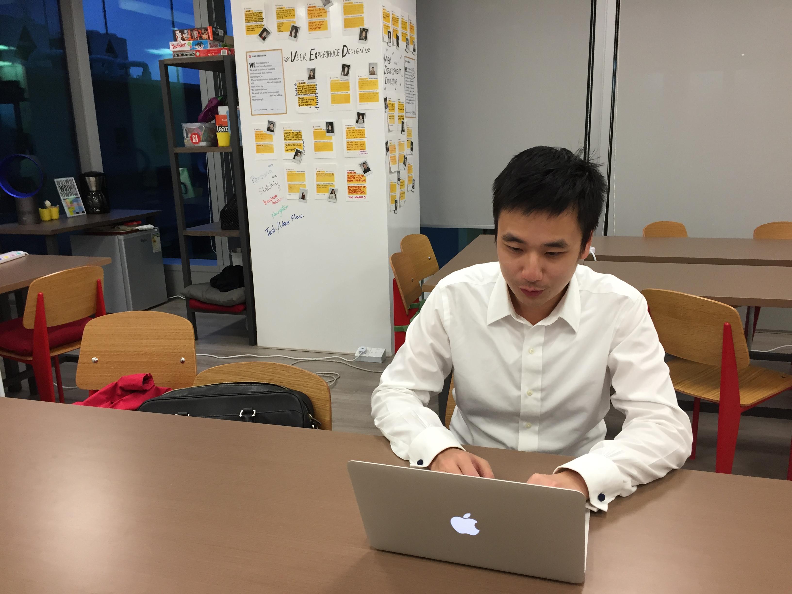 Anton working at GA's Hong Kong Campus.